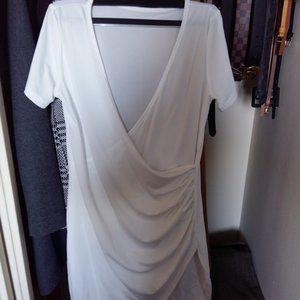 White Dress with overlapping neck and scuff detail